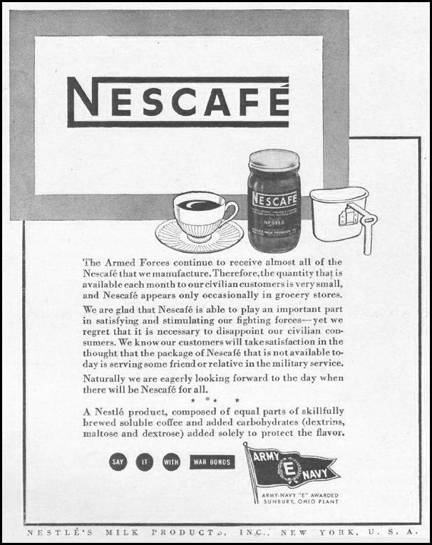 NESCAFE INSTANT COFFEE LIFE 10/25/1943 p. 91