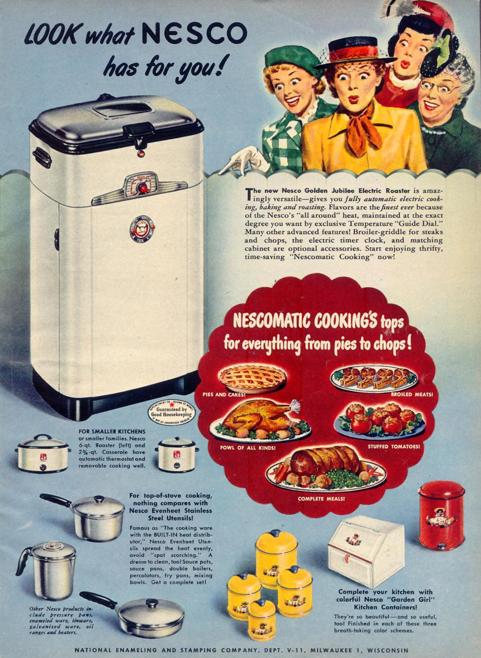 NESCO ELECTRIC ROASTER WOMAN'S DAY 11/01/1949 p. 9