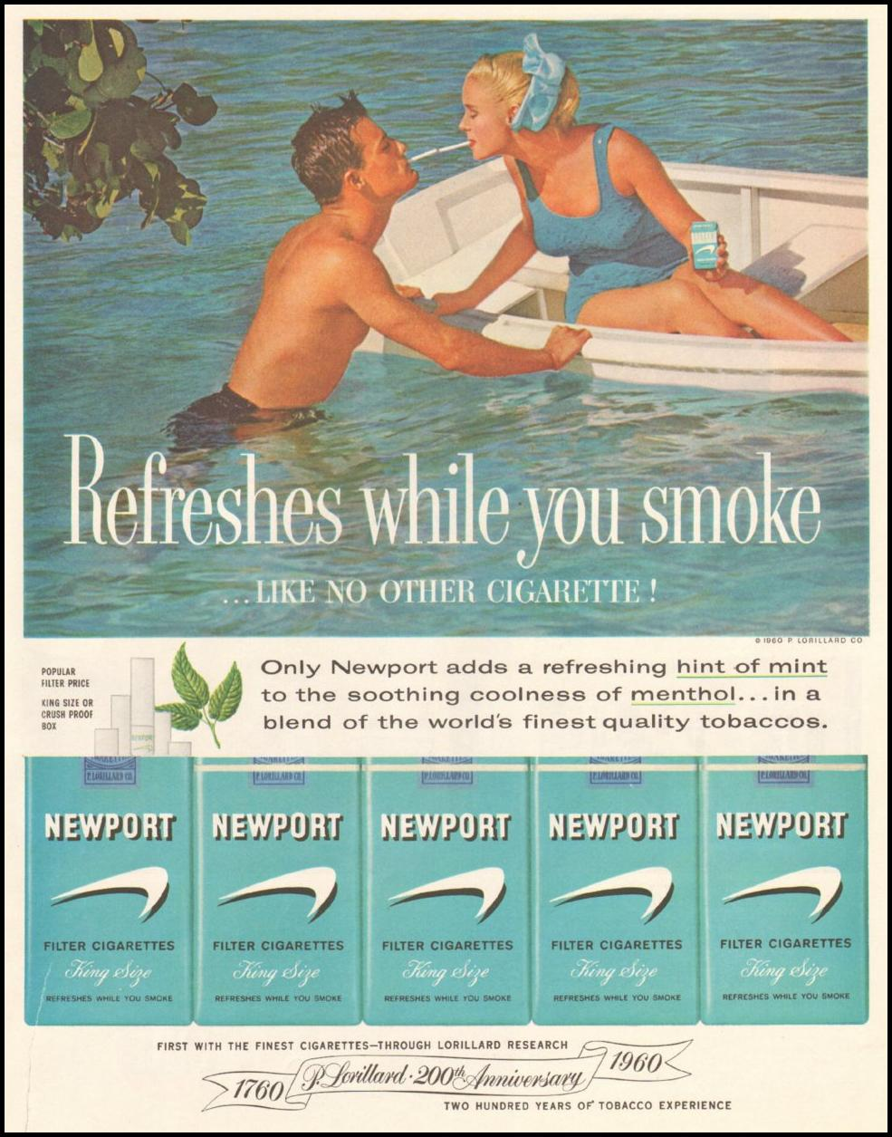 NEWPORT CIGARETTES SATURDAY EVENING POST 06/11/1960 p. 93