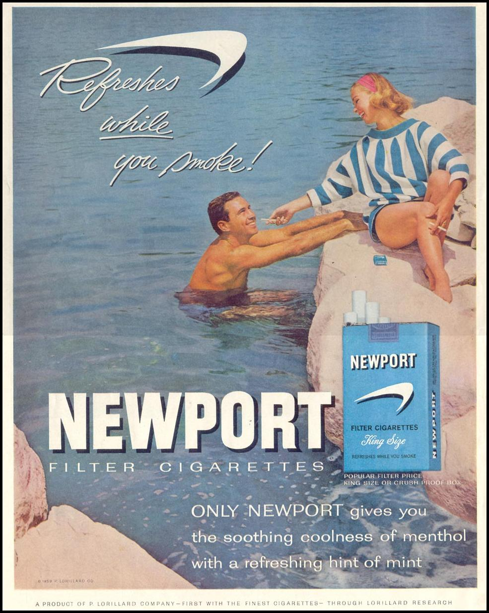 NEWPORT CIGARETTES SATURDAY EVENING POST 08/15/1959