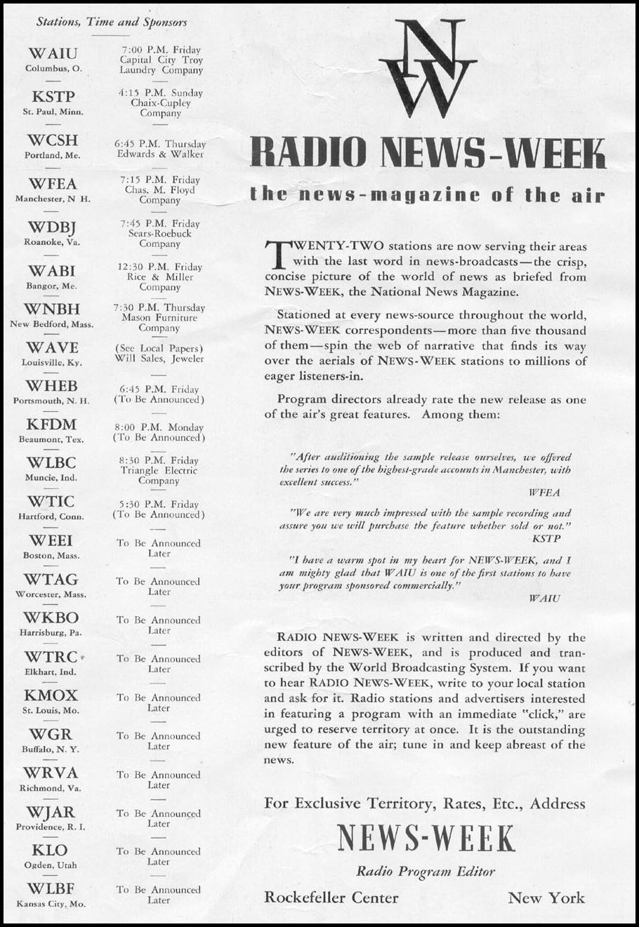 RADIO NEWS-WEEK NEWSWEEK 05/04/1935 INSIDE FRONT