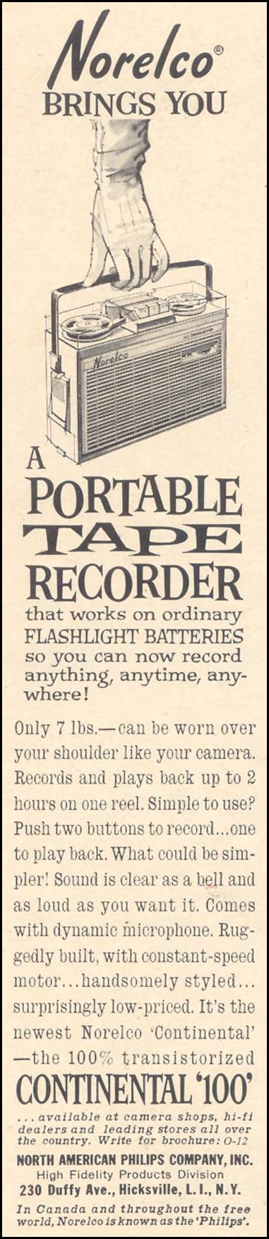 CONTINENTAL 100 PORTABLE TAPE RECORDER TIME 12/07/1962 p. 76