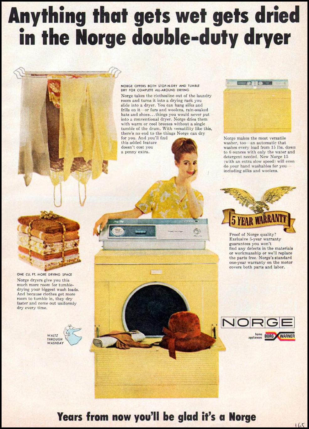 NORGE CLOTHES DRYER GOOD HOUSEKEEPING 10/01/1965 p. 165