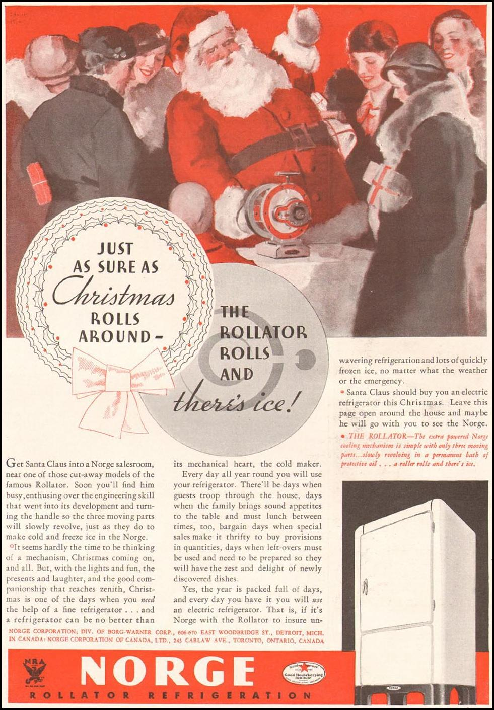 NORGE REFRIGERATORS GOOD HOUSEKEEPING 12/01/1933