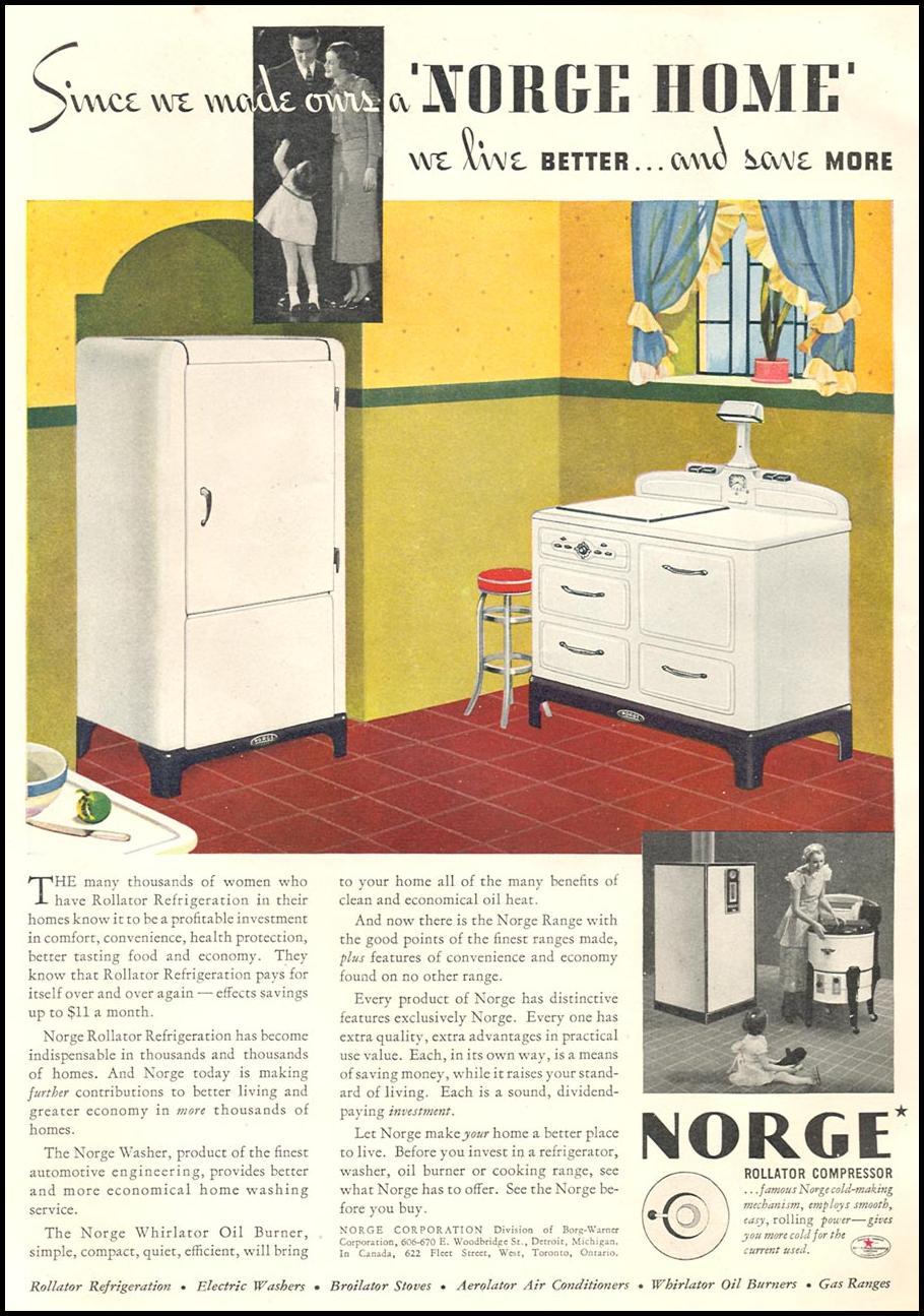 NORGE ROLLATOR REFRIIGERATOR GOOD HOUSEKEEPING 06/01/1935 p. 158