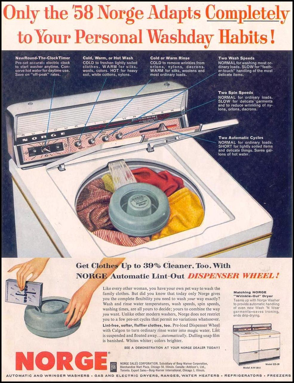 NORGE AUTOMATIC WASHERS LIFE 11/11/1957
