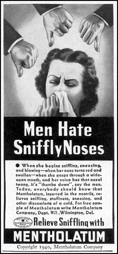 MENTHOLATUM WOMAN'S DAY 11/01/1940 p. 65
