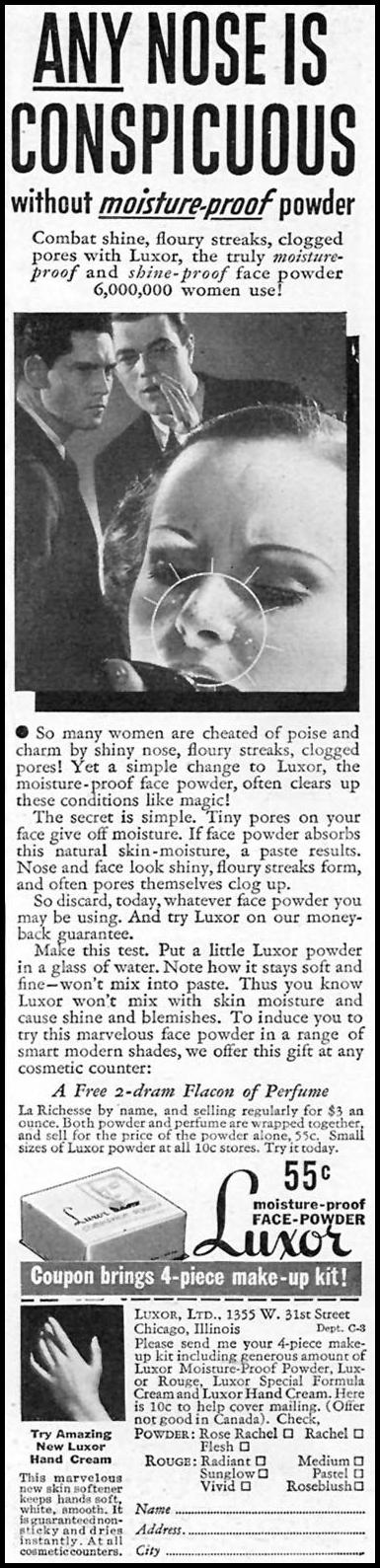 LUXOR MOISTURE-PROOF POWDER GOOD HOUSEKEEPING 04/01/1936 p. 221
