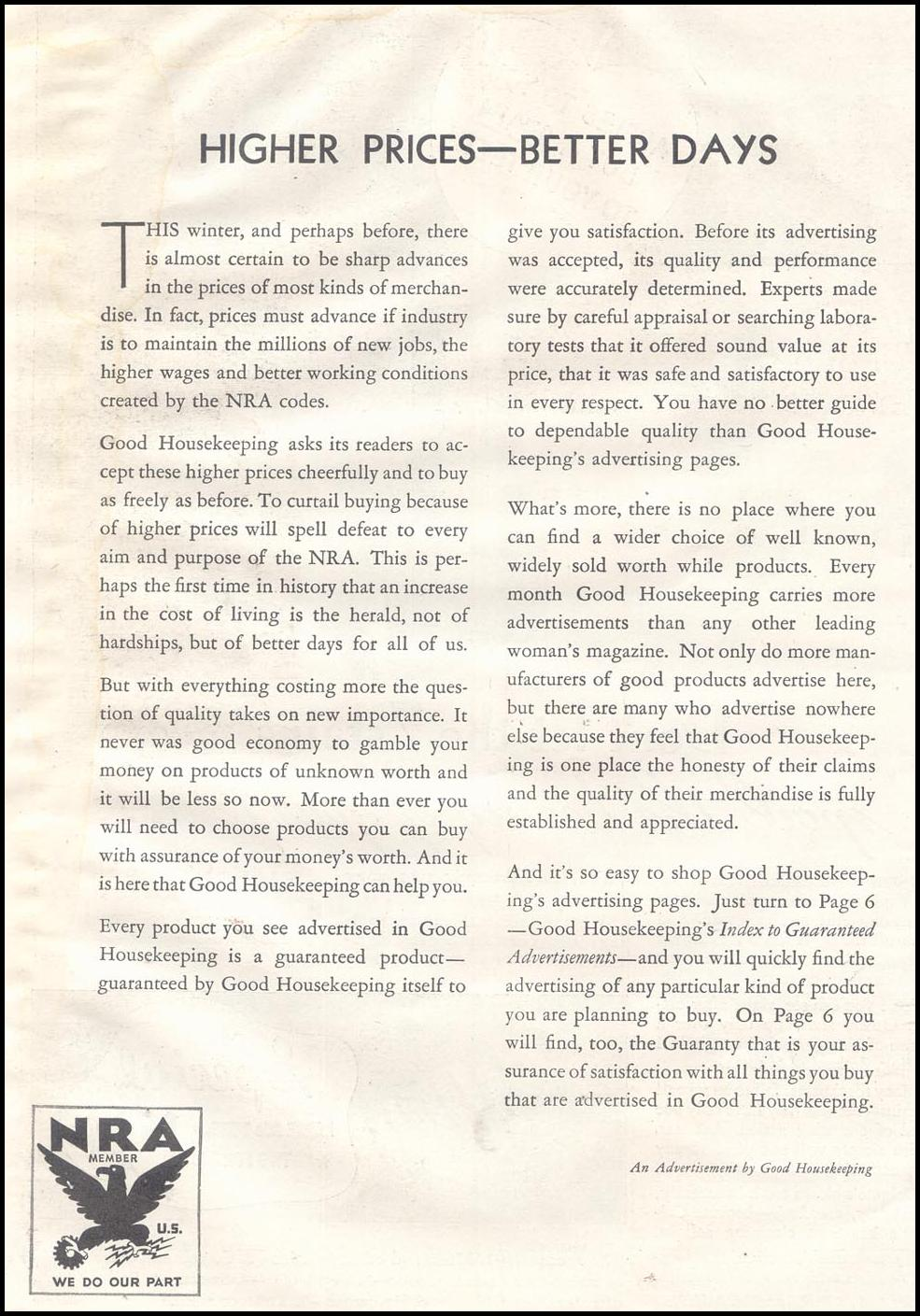 NATIONAL RECOVERY ACT GOOD HOUSEKEEPING 11/01/1933 p. 8