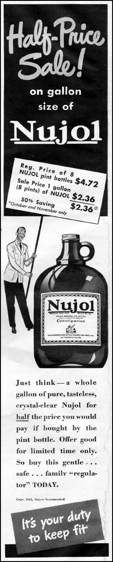 NUJOL LAXATIVE LIFE 10/23/1944 p. 4