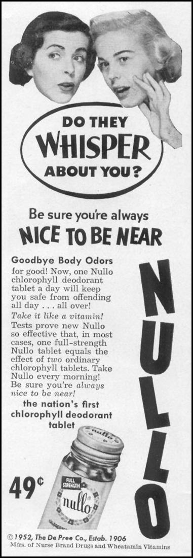 NULLO CHLOROPYLL DEODORANT TABLETS LIFE 10/13/1952 p. 20