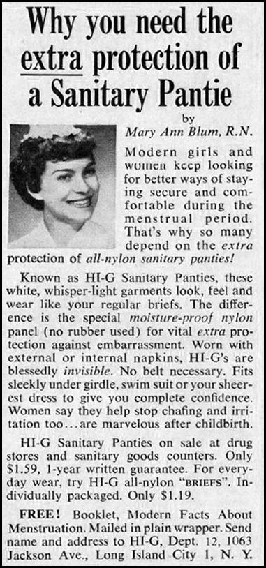 HI-G SANITARY PANTIES GOOD HOUSEKEEPING 05/01/1957 p. 274