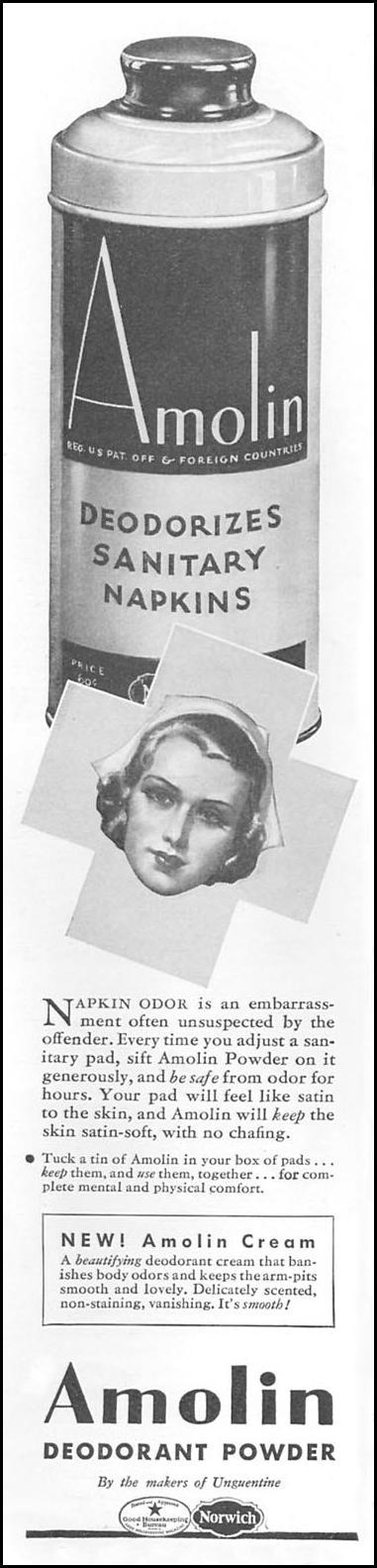 AMOLIN DEODORANT POWDER GOOD HOUSEKEEPING 06/01/1935 p. 136