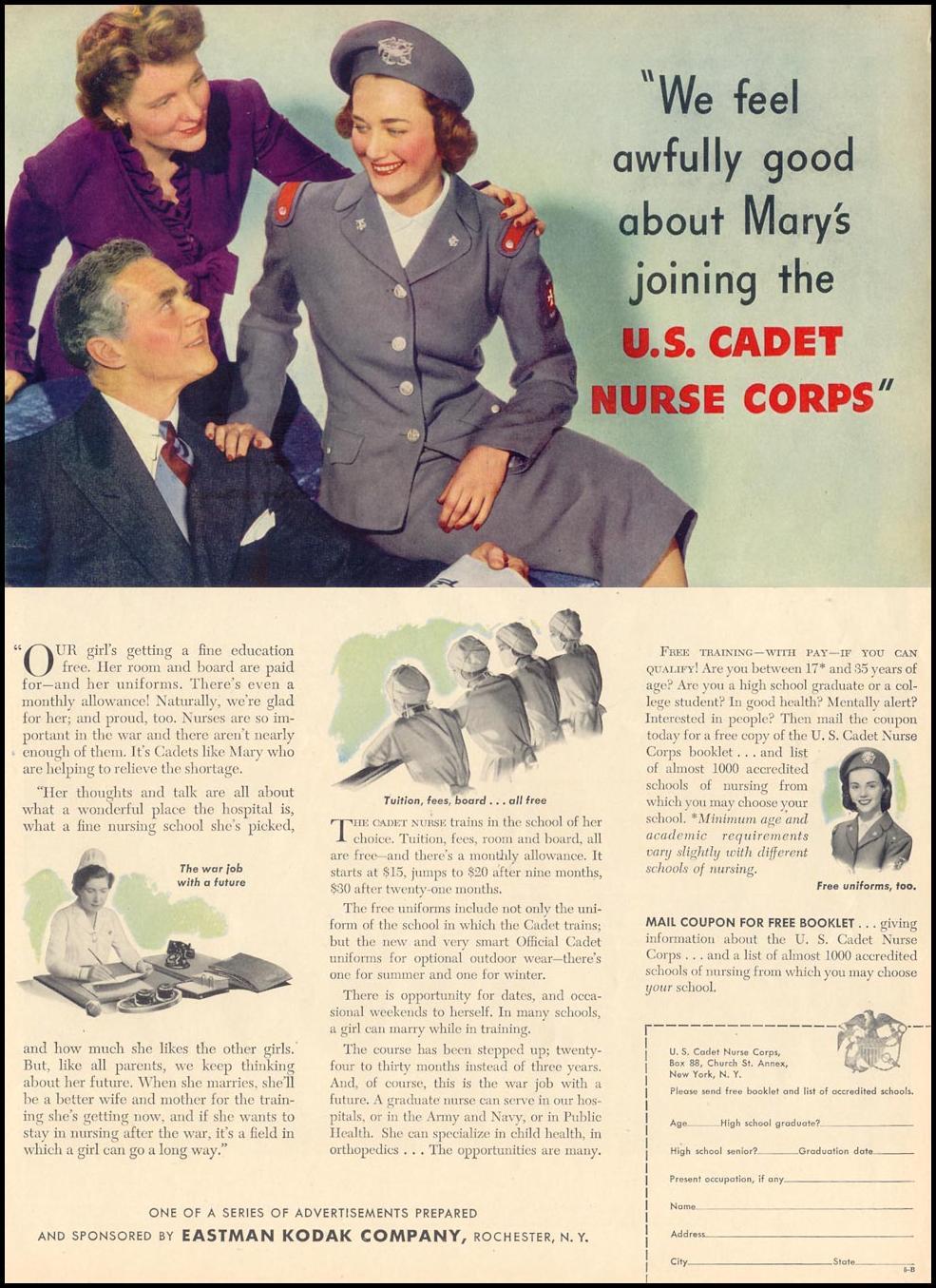 U. S. CADET NURSE CORPS LIFE 02/28/1944