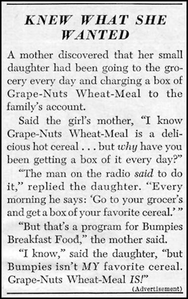 POST GRAPE-NUTS WHEAT-MEAL WOMAN'S DAY 01/01/1949 p. 110