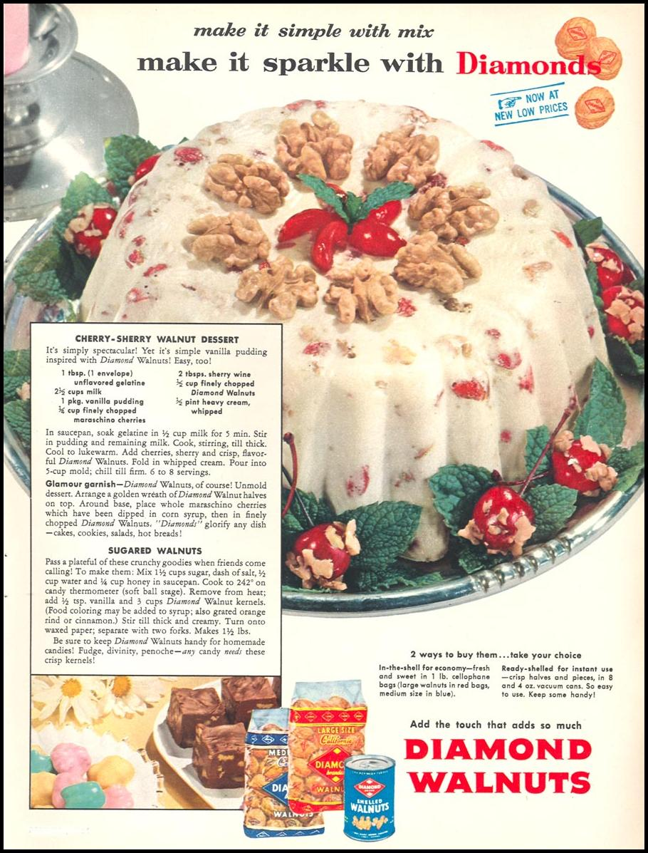 DIAMOND BRAND WALNUTS WOMAN'S DAY 12/01/1954 p. 71