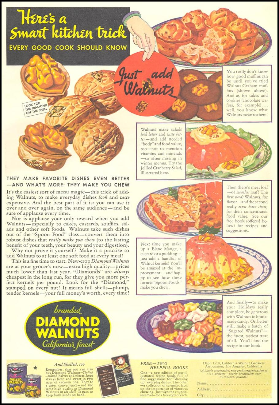 DIAMOND BRAND WALNUTS GOOD HOUSEKEEPING 12/01/1934