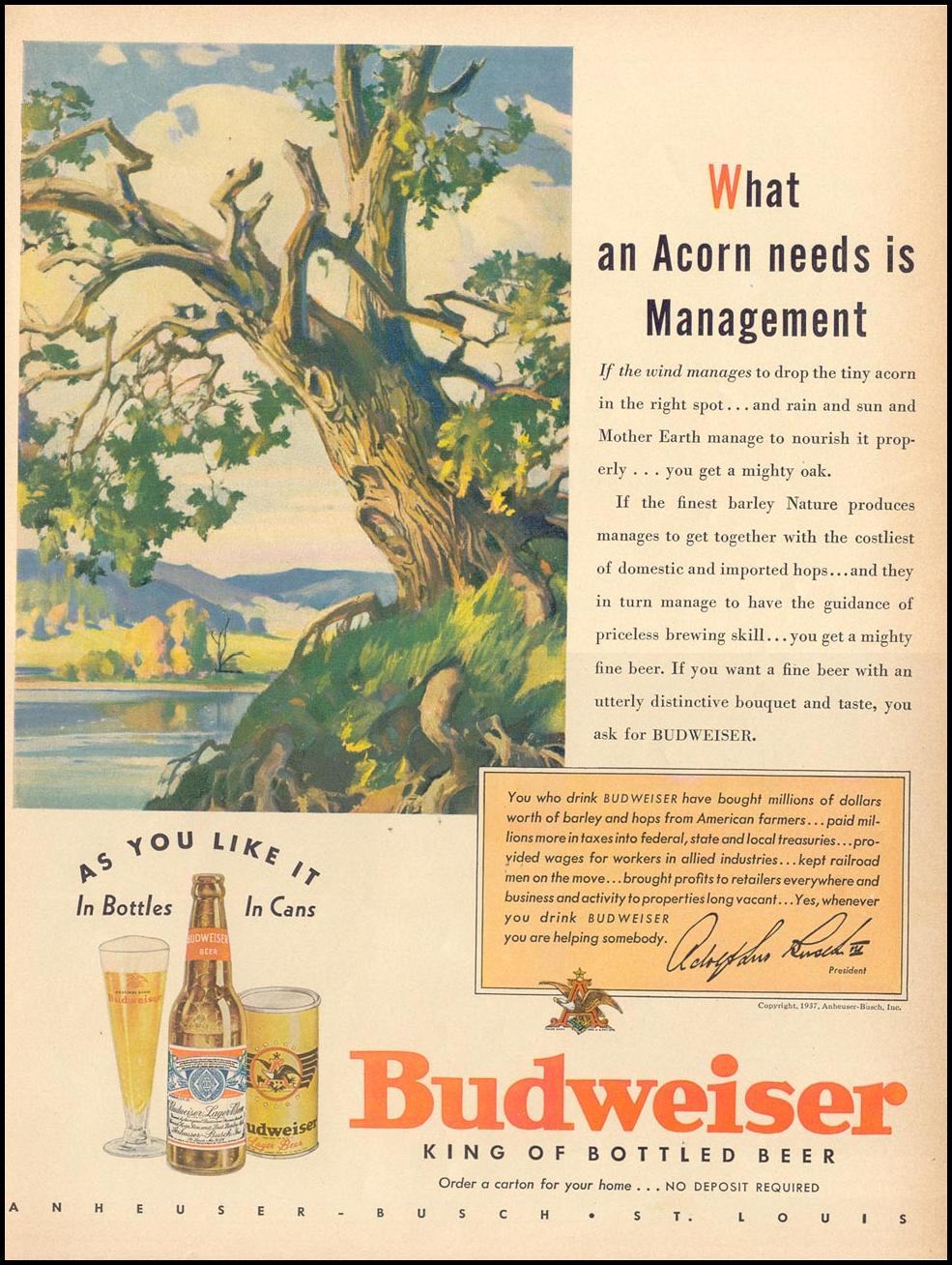 BUDWEISER BEER LIFE 09/13/1937
