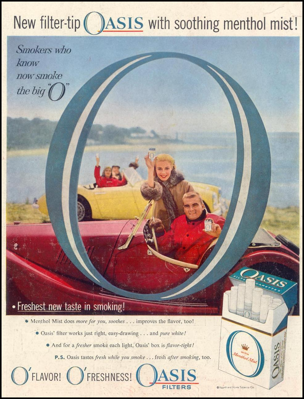 OASIS CIGARETTES LIFE 09/09/1957 BACK COVER