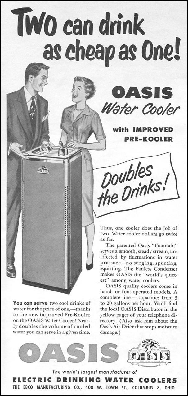 OASIS ELECTRIC DRINKING WATER COOLERS NEWSWEEK 08/20/1951 p. 88