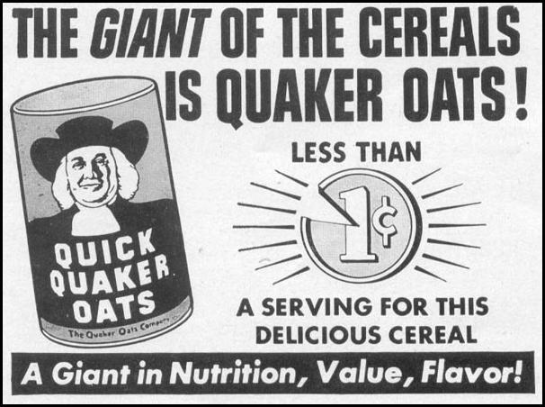 QUICK QUAKER OATS WOMAN'S DAY 10/01/1949 p. 114