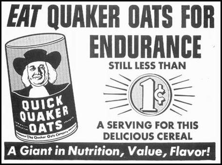QUICK QUAKER OATS WOMAN'S DAY 12/01/1948 p. 109