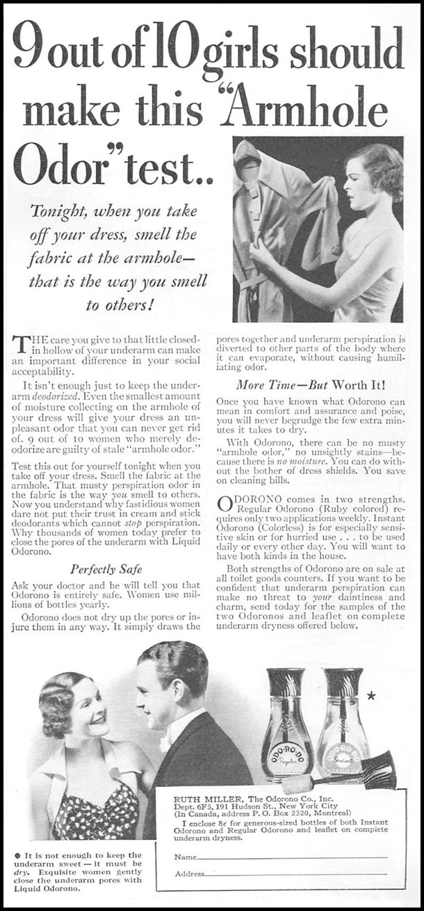 ODORONO DEODORANT GOOD HOUSEKEEPING 06/01/1935 p. 171