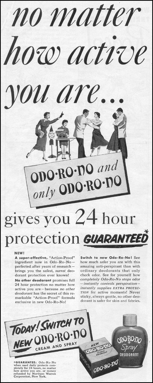 ODO-RO-NO CREAM AND SPRAY DEODORANT LIFE 07/12/1954 p. 26