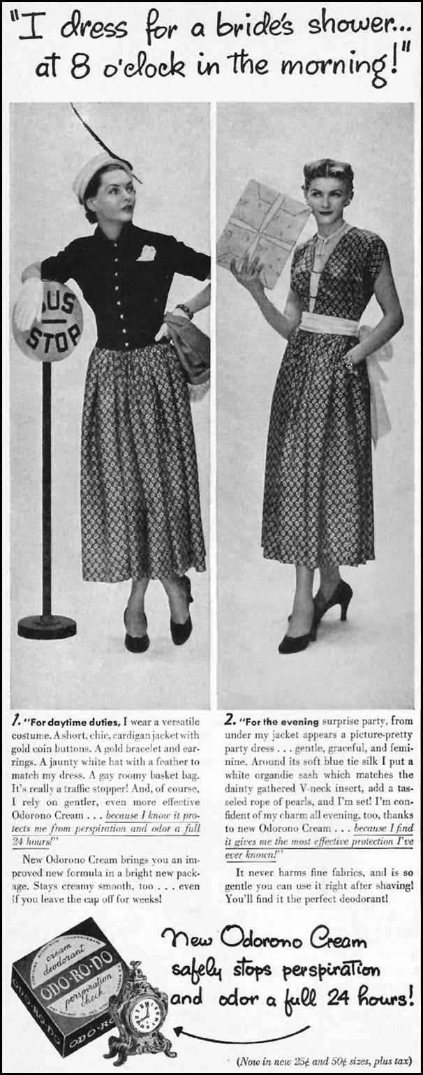 ODORONO DEODORANT CREAM LADIES' HOME JOURNAL 07/01/1949 p. 134