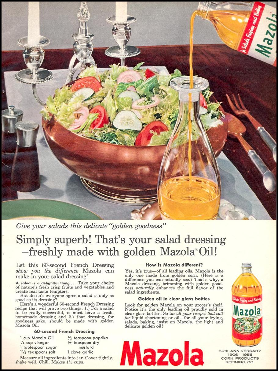 MAZOLA CORN OIL WOMAN'S DAY 04/01/1956 p. 69