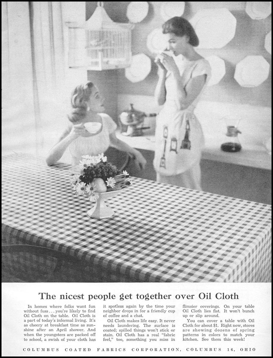 OIL CLOTH TABLECLOTHS WOMAN'S DAY 04/01/1956 p. 81