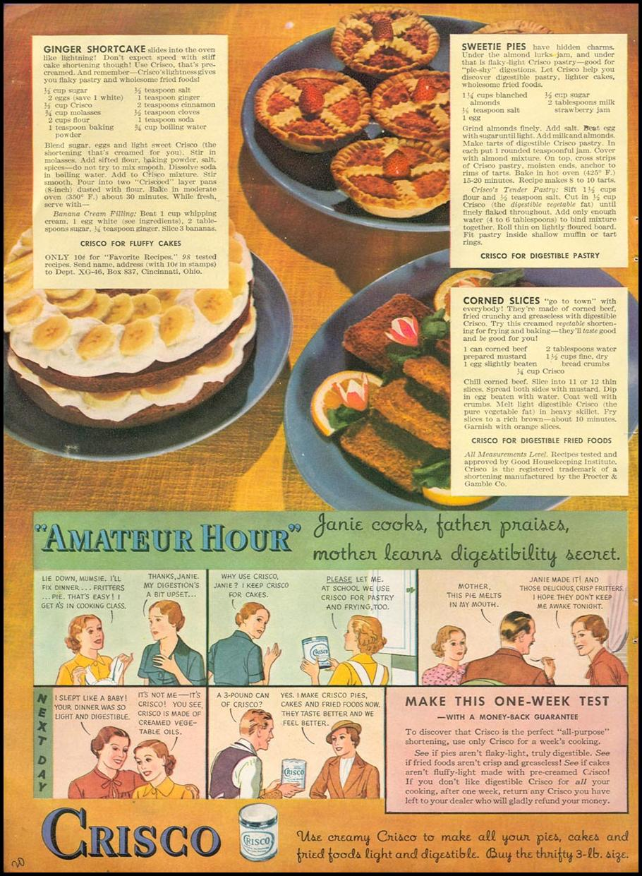 CRISCO VEGETABLE SHORTENING GOOD HOUSEKEEPING 04/01/1936 p. 20