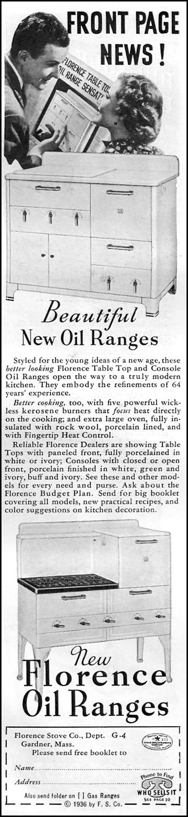 FLORENCE OIL RANGES GOOD HOUSEKEEPING 04/01/1936 p. 247