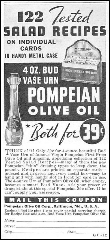 POMPEIAN OLIVE OIL GOOD HOUSEKEEPING 12/01/1934 p. 194