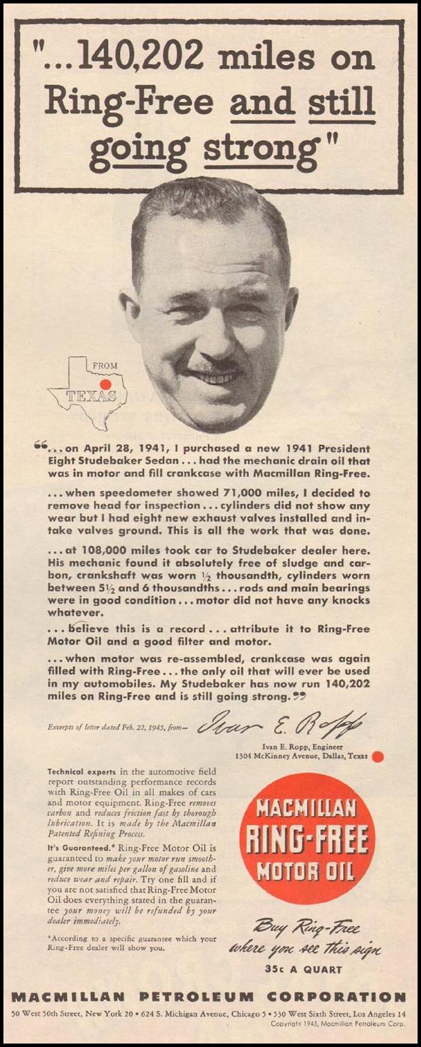 MACMILLAN RING-FREE MOTOR OIL LIFE 06/04/1945 p. 65