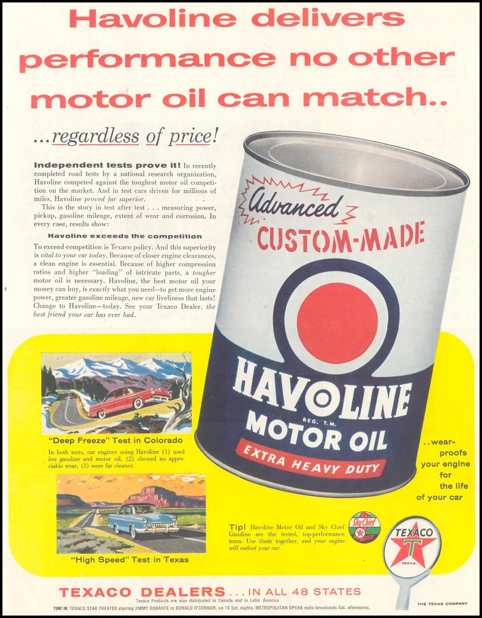 TEXACO HAVOLINE MOTOR OIL SATURDAY EVENING POST 02/05/1955 p. 59