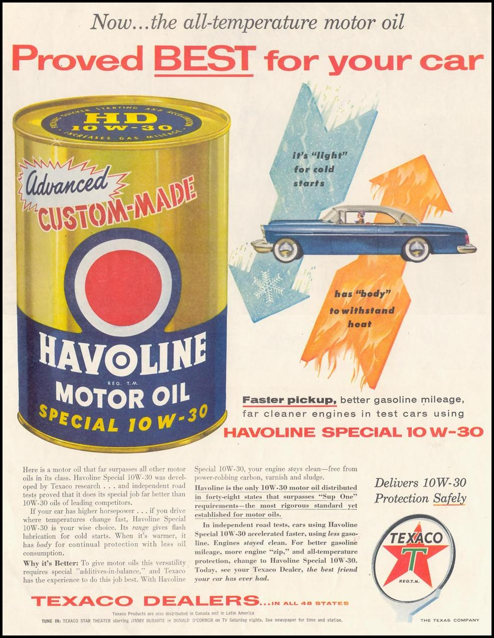 TEXACO HAVOLINE MOTOR OIL SATURDAY EVENING POST 04/09/1955