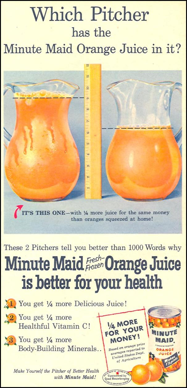 MINUTE MAID FRESH FROZEN ORANGE JUICE FAMILY CIRCLE 01/01/1956 p. 15