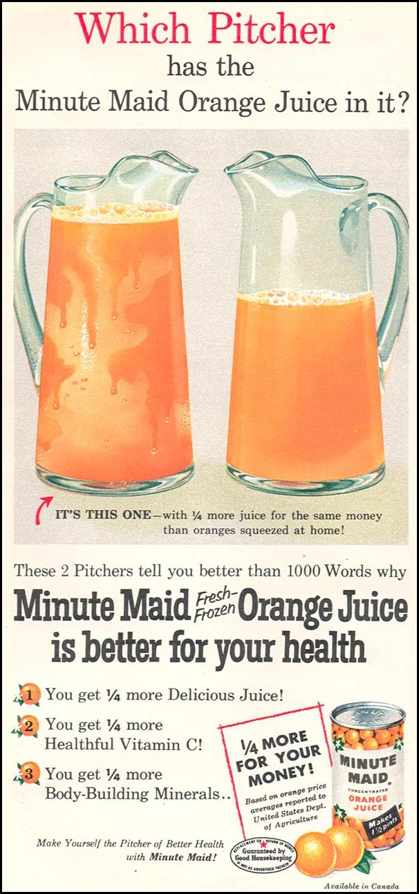 MINUTE MAID FRESH-FROZEN ORANGE JUICE WOMAN'S DAY 04/01/1956 p. 48