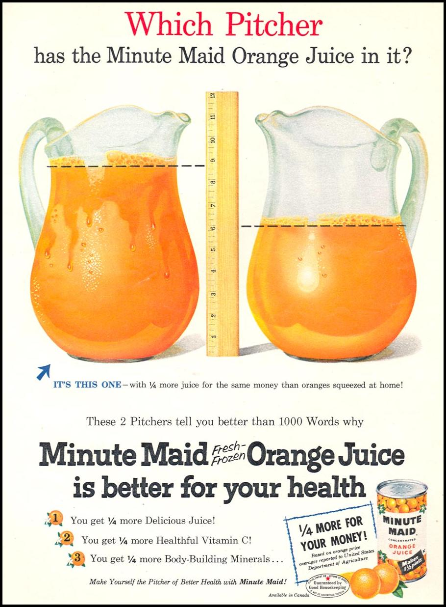 MINUTE MAID FRESH-FROZEN ORANGE JUICE WOMAN'S DAY 09/01/1955 p. 85