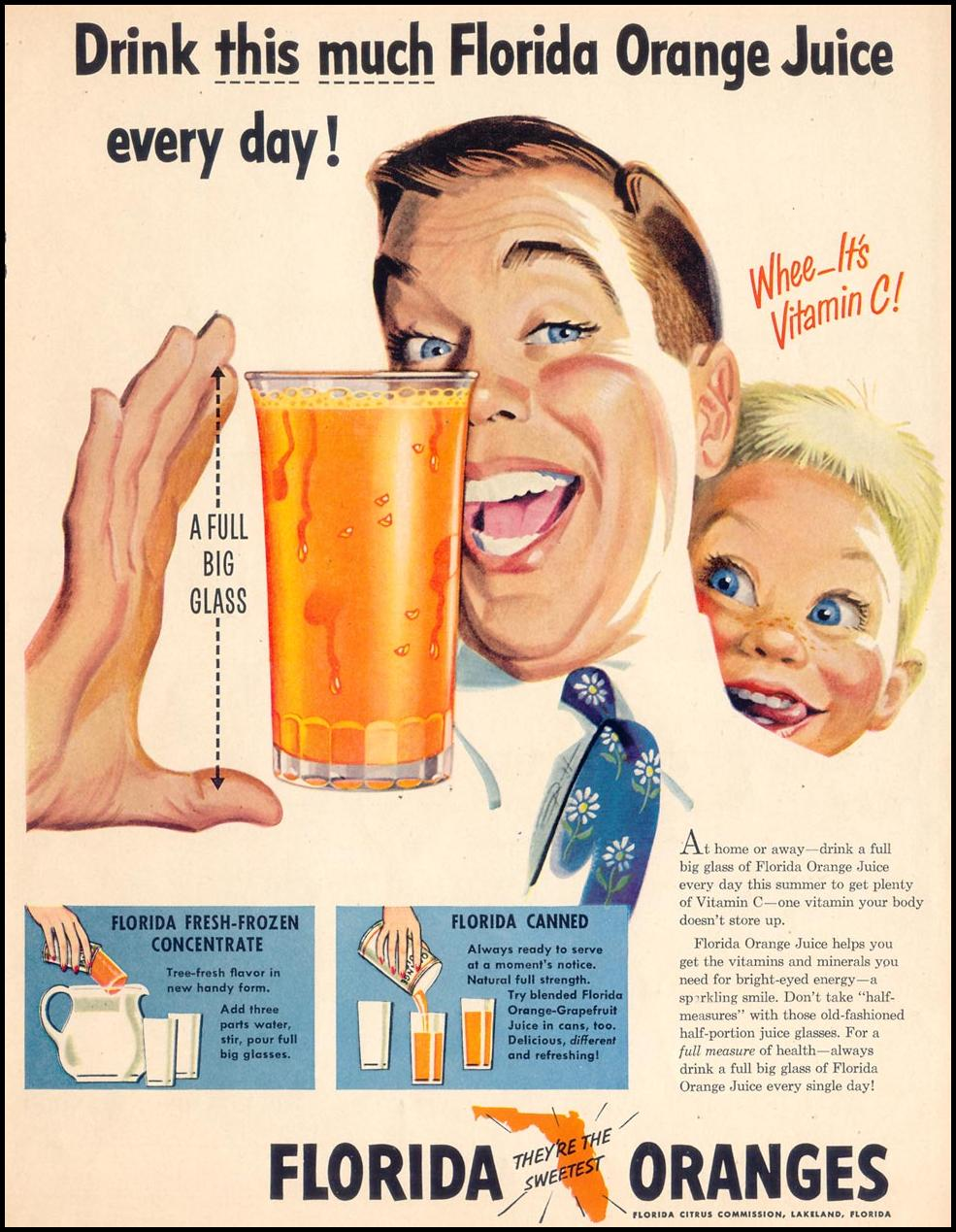 FLORIDA ORANGE JUICE LIFE 07/30/1951 p. 49