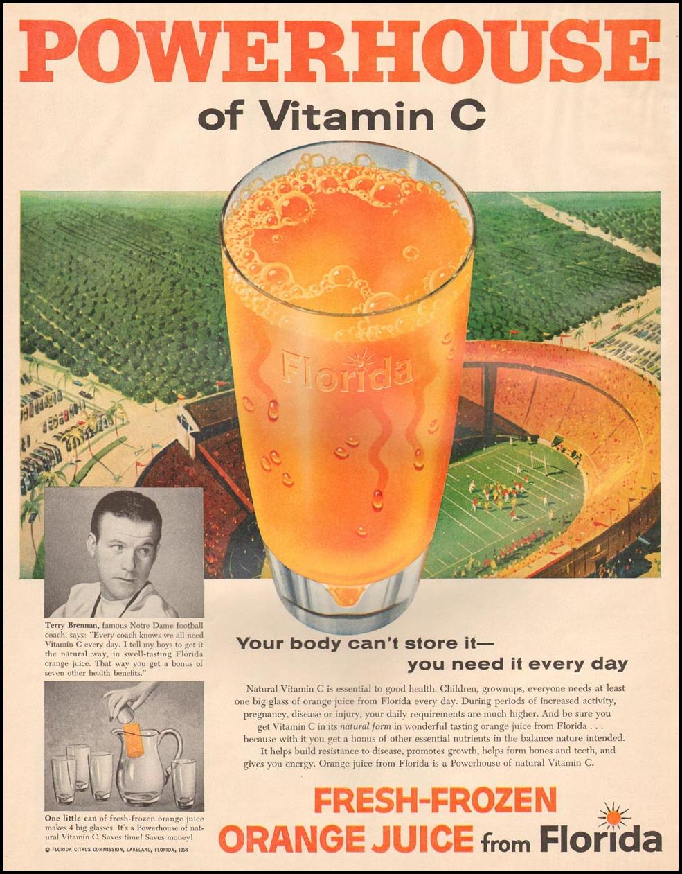 FRESH-FROZEN ORANGE JUICE FROM FLORIDA LIFE 11/24/1958 p. 46