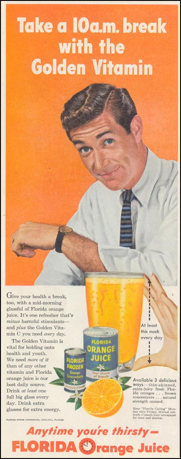 FLORIDA ORANGE JUICE SATURDAY EVENING POST 02/05/1955 p. 6