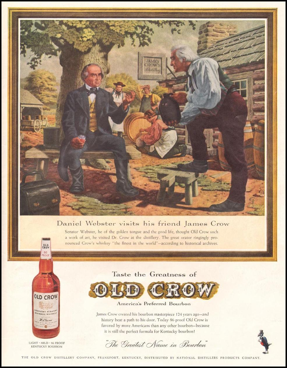 OLD CROW BOURBON WHISKEY LIFE 08/10/1959 INSIDE BACK