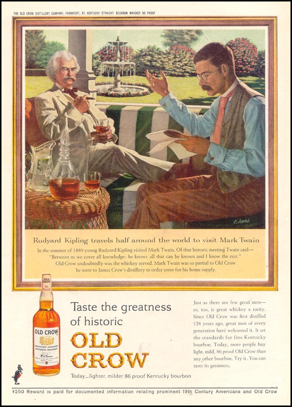 OLD CROW BOURBON WHISKEY TIME 10/25/1963 p. 106