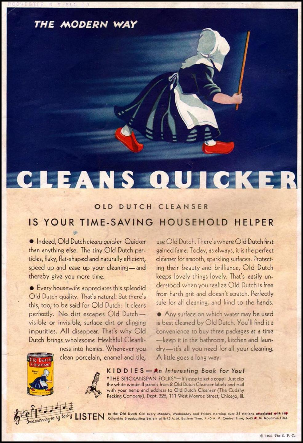 OLD DUTCH CLEANSER BETTER HOMES AND GARDENS 06/01/1931 BACK COVER