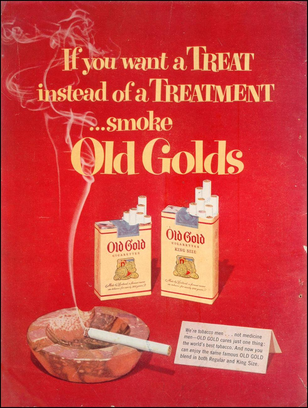 OLD GOLD CIGARETTES WOMAN'S DAY 03/01/1954 INSIDE FRONT