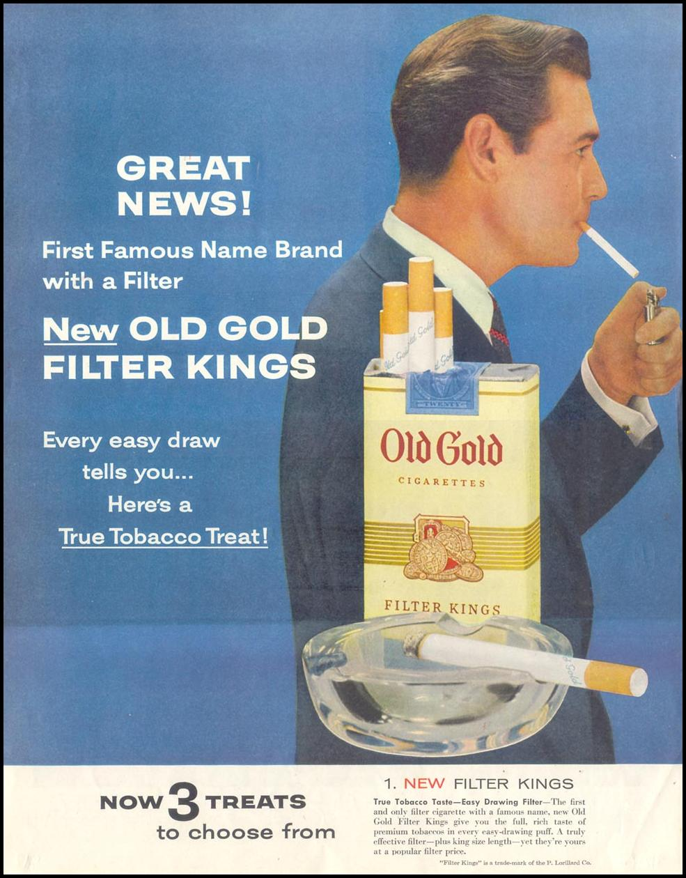 OLD GOLD CIGARETTES SATURDAY EVENING POST 03/26/1955 p. 82