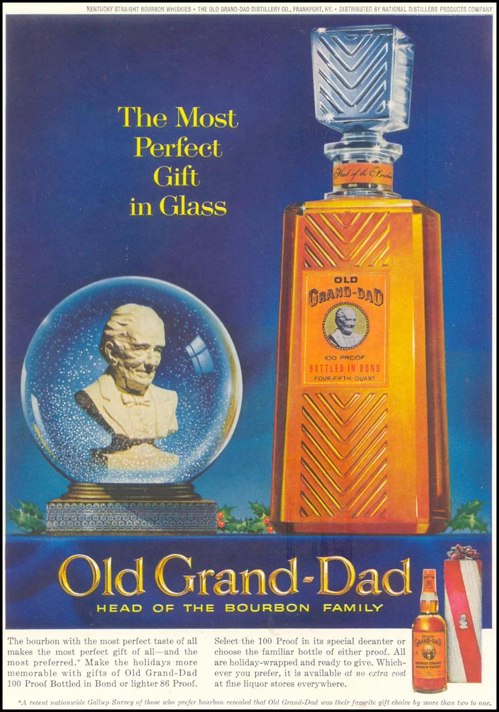 OLD GRAND-DAD BOURBON WHISKEY TIME 12/07/1962 INSIDE BACK
