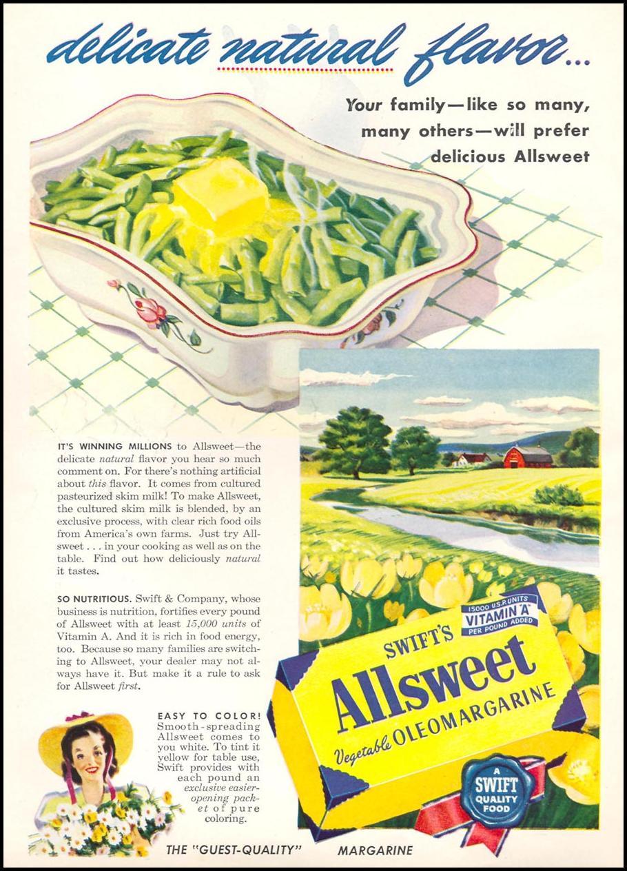 SWIFT'S ALLSWEET VEGETABLE OLEOMARGARINE WOMAN'S DAY 01/01/1947 INSIDE FRONT